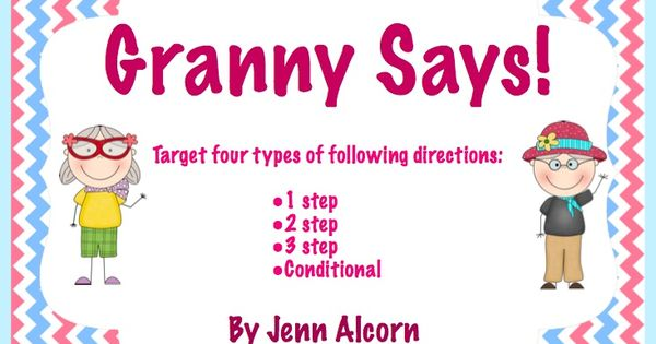 crazy speech world granny says freebie targeting 1 2 3 step and conditional directions. Black Bedroom Furniture Sets. Home Design Ideas