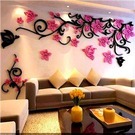 Flower And Butterfly Pattern Acrylic 3d Tv Sofa Background Wall Stickers Wall Stickers Home Decor Wallpaper For Home Wall Wall Stickers Home