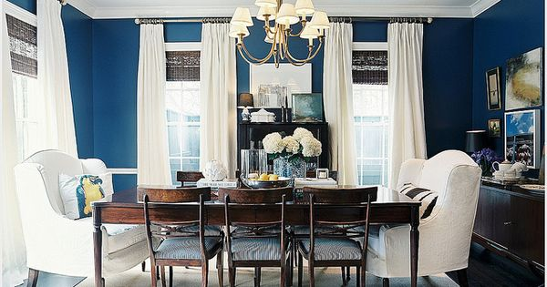 Navy Blue Dining Room - since grey makes Papa feel like he's
