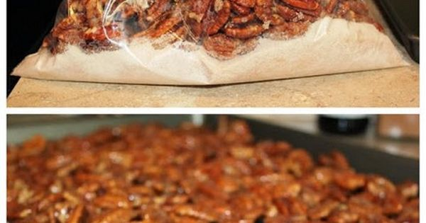 An incredibly easy recipe for candied pecans, perfect for holiday snacking or