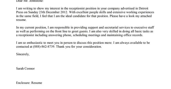 samples cover letter for receptionist job sample resumescover letter samples for jobs