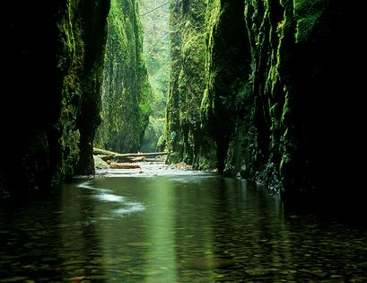 """Emerald Gorge"" - Columbia River Gorge, Oregon - Reflected light inside Oregon's"