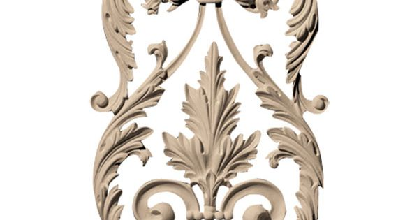 Approx 7 3 4 Inch W X 11 1 2 Inch H X 1 2 Inch D Leaf With Vine Crest And Florets Onlay Br Wood Appliques Wall Painting Decor Ceiling Medallions