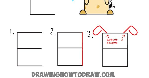 how to draw a dog with letters