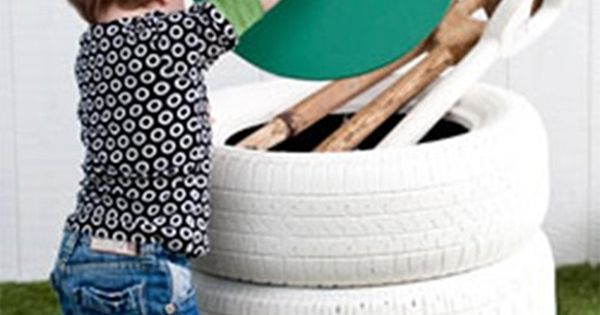 DIY storage toy box for kids using old tires - or for