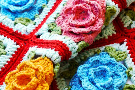 Crochet For Children: Crochet Rose Granny Square - Free Crochet Diagram