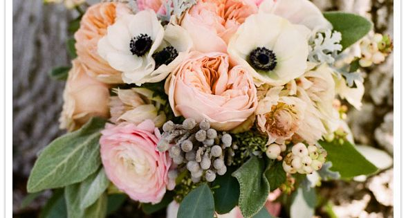 Spring bouquet with pink peonies & anemones.