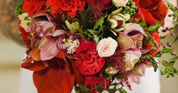 Wedding bouquet inspiration red garden rose dahlia - Red garden rose bouquet ...