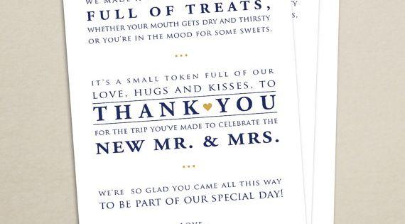 Wedding Hotel Welcome Bag Letter