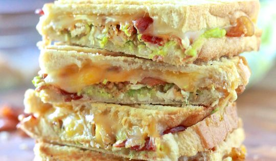 Chicken, Bacon and Avocado Paninis - yum!! I didn't have any breaded