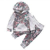 Neugeborenes Baby M/ädchen Kleidung Floral Hoodie Top Shirt Hose 2 St/ück Outfits Set