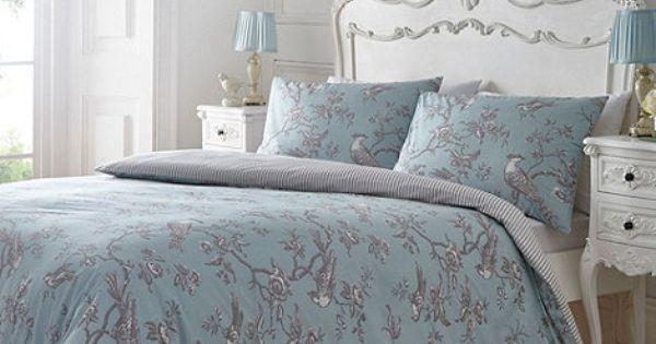 Debenhams Blue And Grey Printed Curious Bird Bedding Set