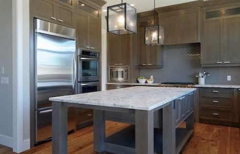 Beautiful Kitchen With Soft Gray Walls Paint Color Trim