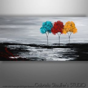 Abstract Painting Original Painting Wall Art Landscape Painting Tree Painting Palette Knife Black White Red Painting Wall Decor Abstract Painting Red Painting Tree Painting
