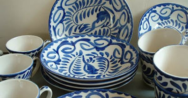 Mexican Pottery Anfora Blue White Dishes White Dishes Mexican Pottery Pottery