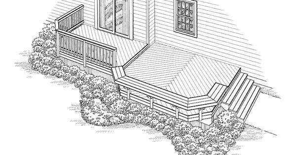 Eplans deck plan curved floating bench and box steps for Floating bench plans