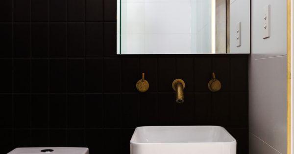 Black and brass bathroom design pip norris photos for Bathroom remodel norman ok
