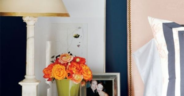 Love this painted dresser as a nightstand and the blue wall color
