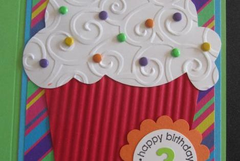 handmade birthday card by Penny Strawberry ... giant punch art style cupcake
