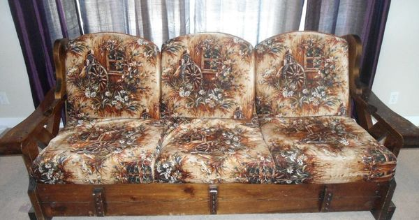 Vintage Late 70 S Real Wood Frame Couch Cushion Printed