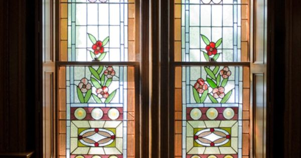 Beautiful stained glass inside the assembly hall within Temple Square; Salt Lake