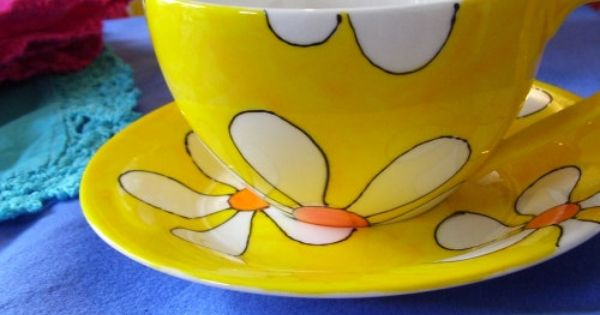 Hand Painted Yellow Retro Flowers Cappuccino Cup Saucer