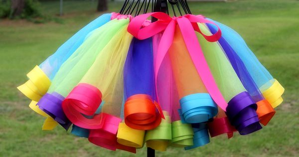 Love this tutu skirt with rolled nylon, hemmed with wide ribbon. A