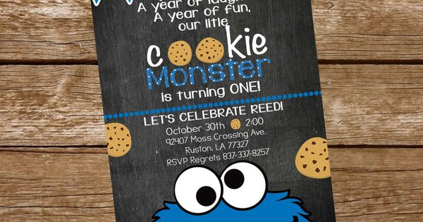 Cookie Monster Birthday Invite by KarliColesInvites on Etsy | invites | Pinterest | Cookie ...
