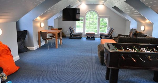 How To Transform Your Attic Into A Fun Game Room Attic Game Room Room Above Garage Home