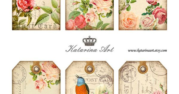Shabby ROSES Tags. Digital Collage Sheet. Printable por KatarinaArt