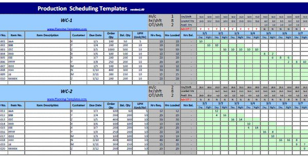 Production Schedule Template In Excel For Master Scheduler Monthly Weekly Daily Schedule Template Excel Templates Master Schedule