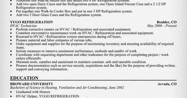 Hvac Technician Resume Sample Resumecompanion Com