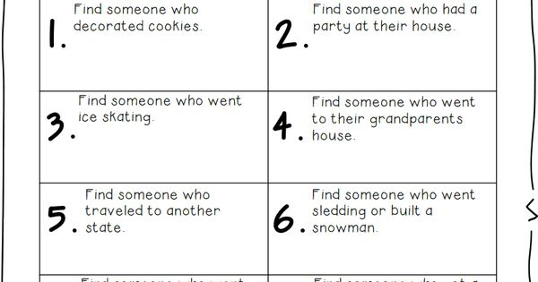 Find someone who... Winter Break.pdf : Holidays/Seasons Throughout the School Yr : Pinterest ...
