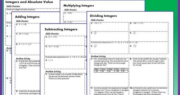 integers homework practice worksheets skills practice with word problems 5 integer practice. Black Bedroom Furniture Sets. Home Design Ideas