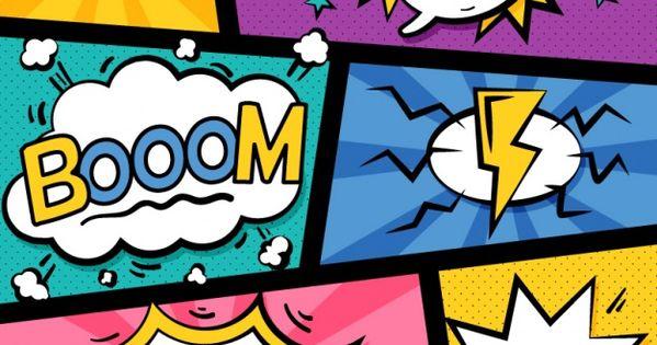 Set De Coloridas Viñetas De Comic Con Globos De Diálogo