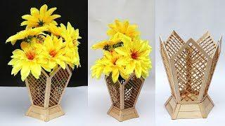 Foto Vas Bunga Dari Stik 30 Ide Kreatif Cara Membuat Vas Bunga Mewah Dari Stik Es Krim Dan Hiasan T Craft Stick Crafts Handmade Flower Pots Flower Vase Diy