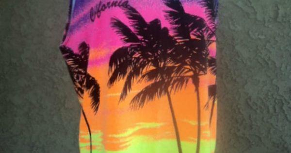 Vintage 80s Neon Tank Top California Sunset Summer Workout ...