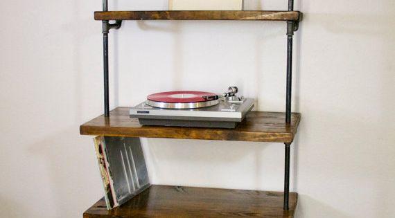 Industrial Vinyl Record Storage Shelf Unit Modern