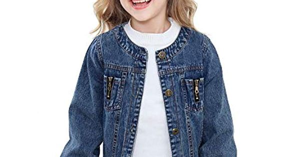 Mogao Caves Kids Childrens Girls Denim Jacket Button Outerwear 2-10 Years