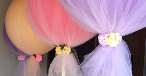 Tulle Balloon decorations - great for a fairy party or a ballerina