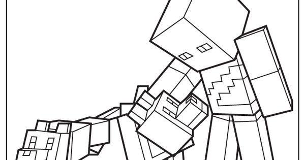 Minecraft Character And Wolves Coloring Page Minecraft