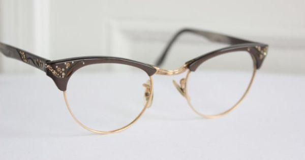 Cat Eye 1960 S Eyeglasses Brown Browline Rhinestone Yellow