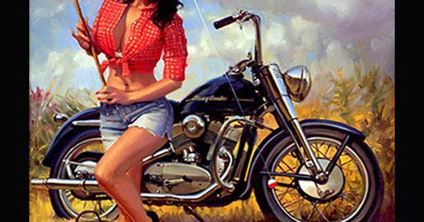 Pin Up Art Series By David Uhl Uhl Studios Motorcycle