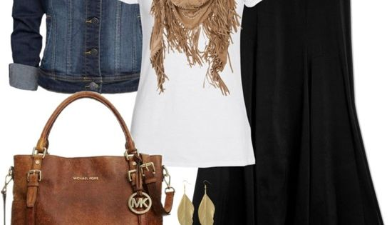 LOVE this outfit! Long black skirt, denim jean jacket, brown sandals and purse and belt, gold and brown bracelets. jeanjacket
