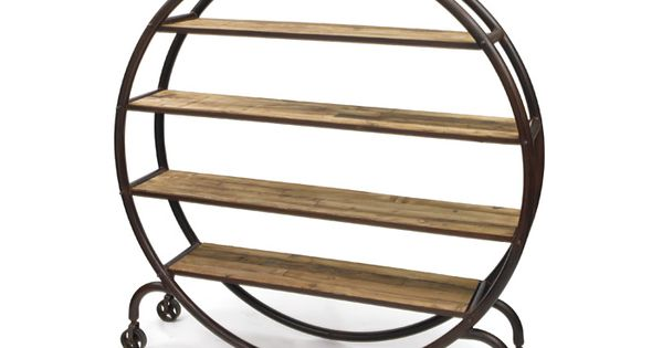 Unique Bookcase Circle Shape With Casters Allows For This