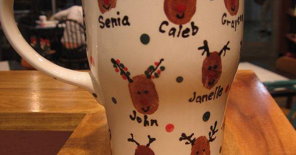 Christmas Gift Idea ~ Reindeer Thumbprint Coffee Mug... Dollar Tree mugs Acrylic