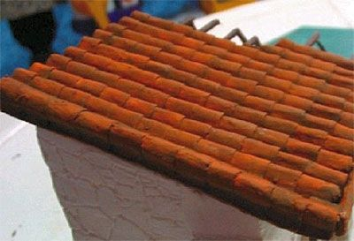 Armorama How To Make A Clay Or Terracotta Tile Roof Using Corrugated Cardboard By Arvin Arbolado Terracotta Tiles Miniature Diy Terracotta