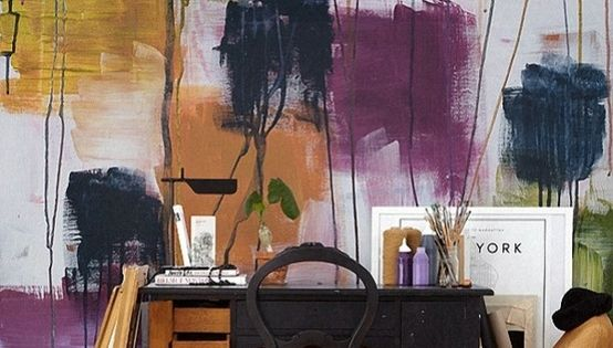 ~ colorful painted wall + work desk + neo-classic matte black chair...
