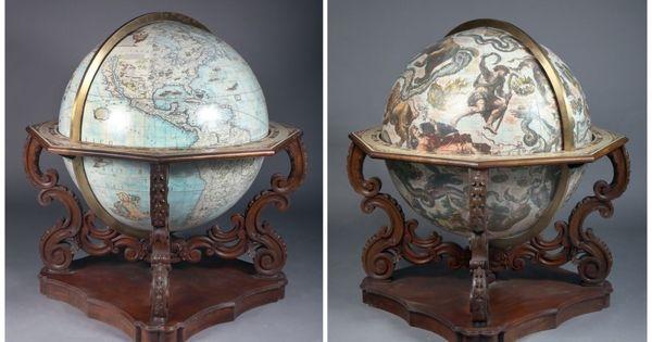 paire de globes terrestre et c leste de parquet d 39 apr s la. Black Bedroom Furniture Sets. Home Design Ideas