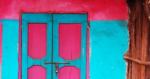 brightly colored doors